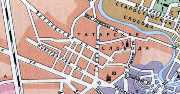 Фрагмент карты 1909 г. Цифрой 3 обозначена мечеть.