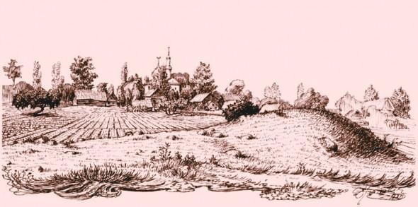 Вид на Татарское предместье и мечеть. Рисунок Язепа Дроздовича (1920-е годы).